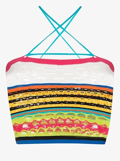 striped crazy knit crop top