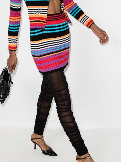 striped ribbed knit mini skirt