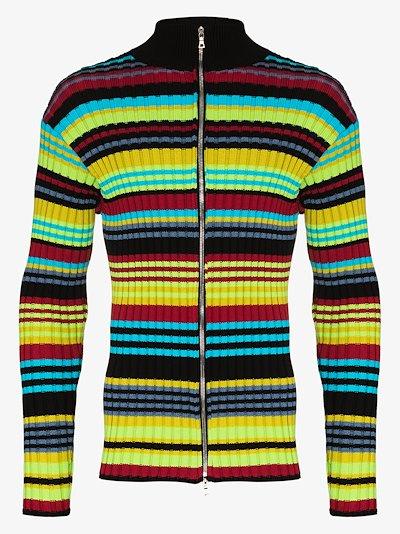 striped zip-up knitted sweatshirt