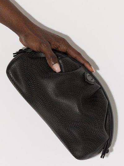 black laser cut leather clutch bag