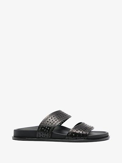 Black Laser Cut Leather Sandals
