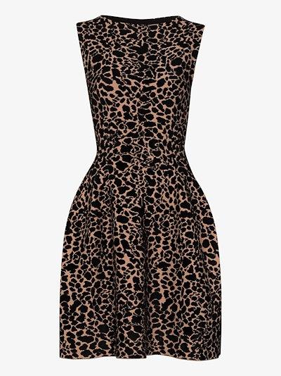 Panther velvet jacquard mini dress