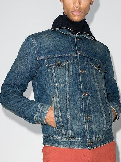 Fair Isle knit denim jacket