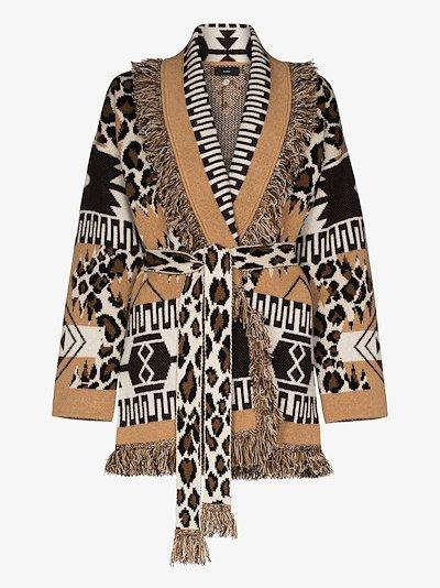 leopard icon cashmere cardigan