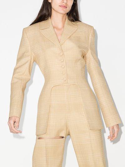 checked cutout blazer