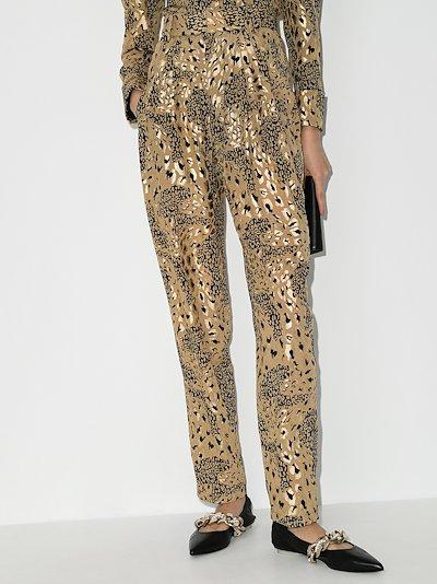 animal print silk trousers