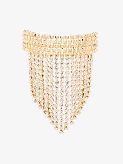 gold tone crystal fringe choker