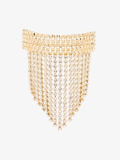 gold tone studded crystal fringe choker