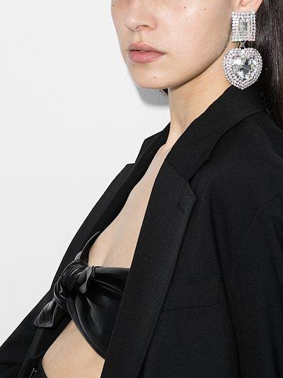silver tone crystal heart clip earrings