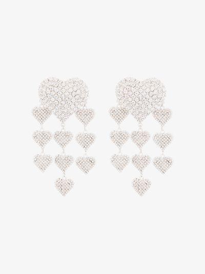 silver tone heart crystal earrings