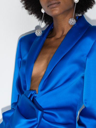 silver tone sapphire pearl earrings