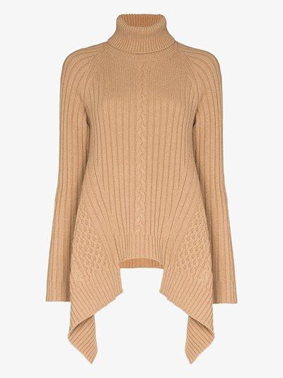 asymmetric turtleneck wool sweater