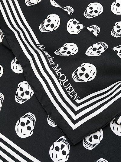 black biker skull print silk scarf