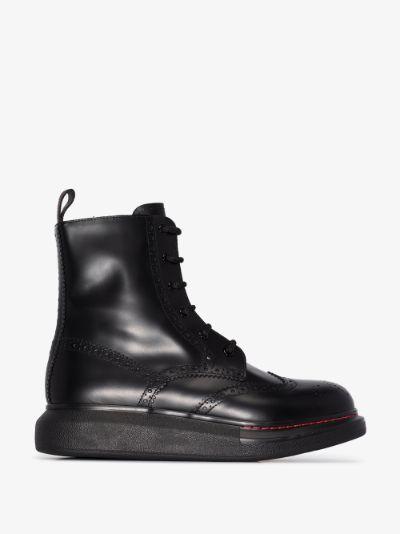 black Hybrid lace-up boots