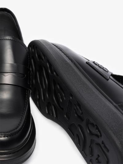 black Hybrid platform leather loafers