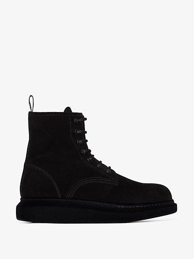 black Hybrid suede boots