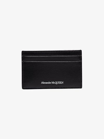 black logo embossed leather card holder