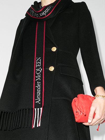 black logo intarsia wool scarf