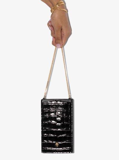 black mock croc chain phone case