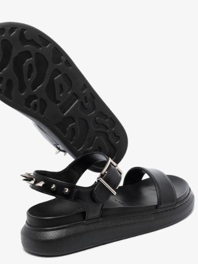 black platform spike leather sandals