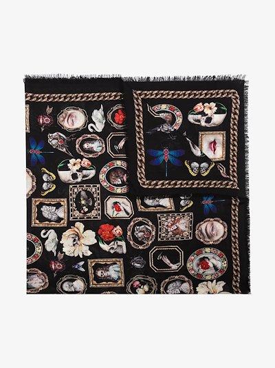 Black printed wool scarf