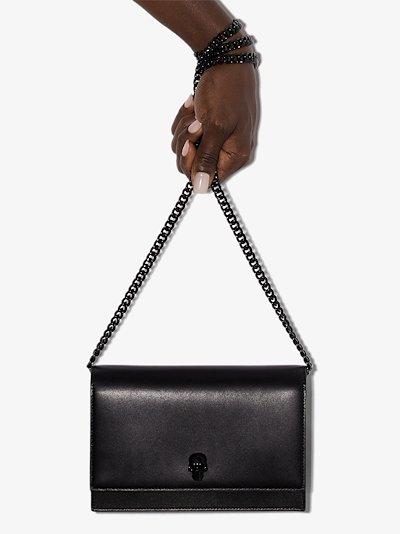 Black skull leather cross body bag