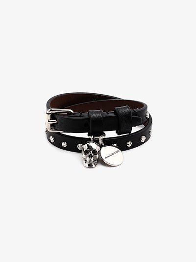 Black Skull Studded Wrap Leather Bracelet