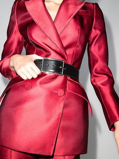 black wide leather waist belt