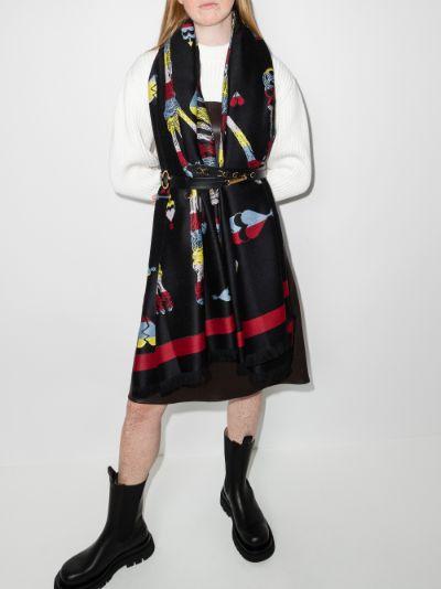 black wool jacquard scarf