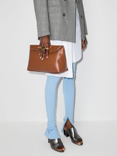 brown Sculptural leather clutch bag