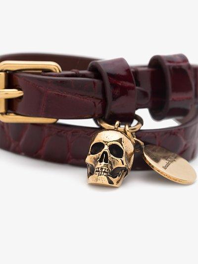 Brown skull leather bracelet