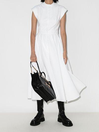 Collarless pleated cotton dress