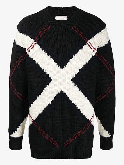 cross intarsia wool sweater