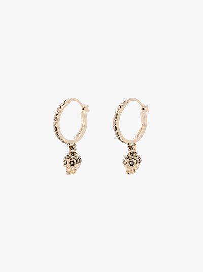 gold-plated crystal skull earrings