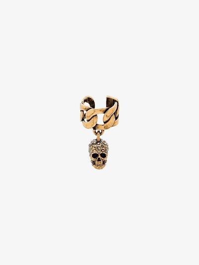 gold tone pavé skull ear cuff
