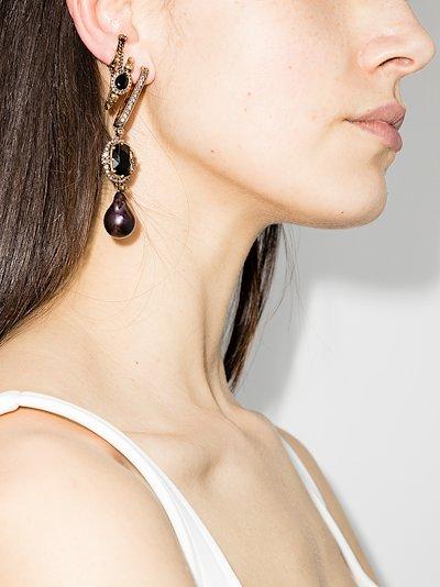 Gold tone pearl drop earring