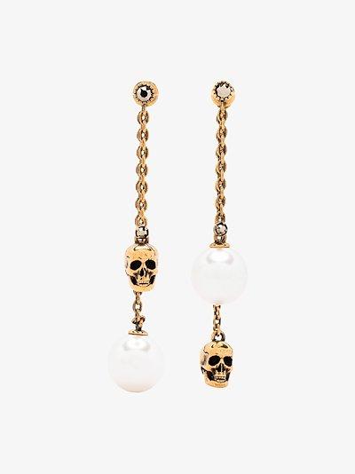 Gold tone pearl drop earrings