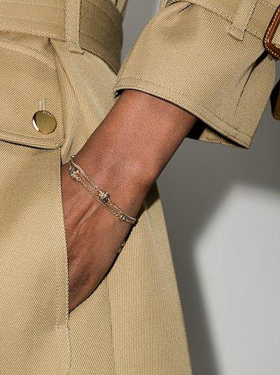 gold tone skull double chain bracelet
