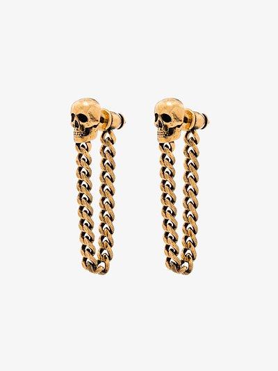gold tone skull stud chain earrings