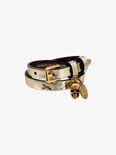 gold tone wrapped leather bracelet