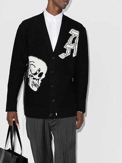 gothic skull intarsia wool knit cardigan