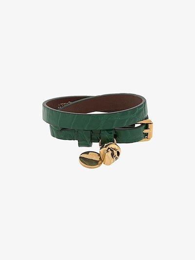 Green Skull Wrap Mock Croc Leather Bracelet