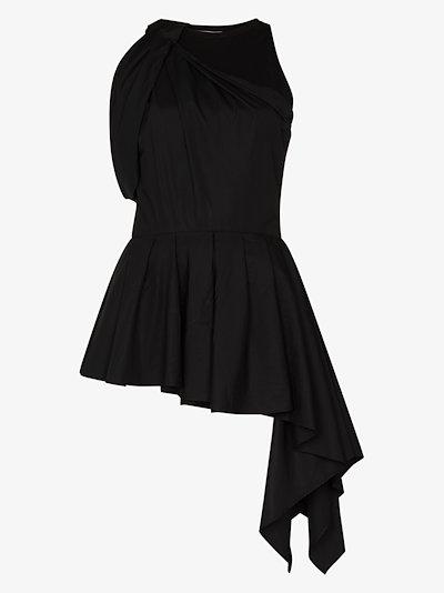 halterneck draped cotton blouse