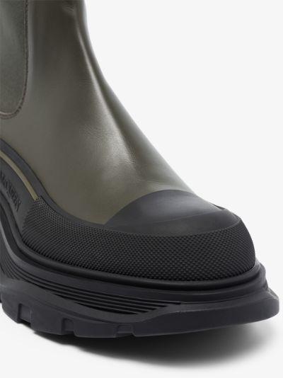 khaki Tread Slick leather Chelsea boots