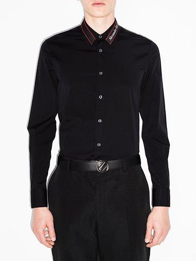logo tape collar shirt