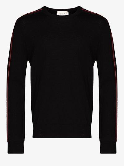logo tape wool sweater