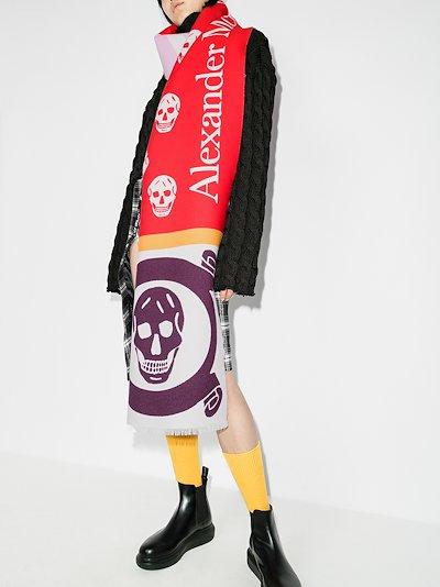 multicoloured Skull jacquard scarf
