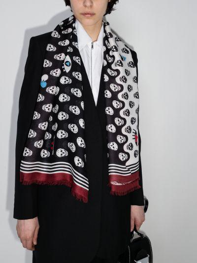 multicoloured skull print scarf