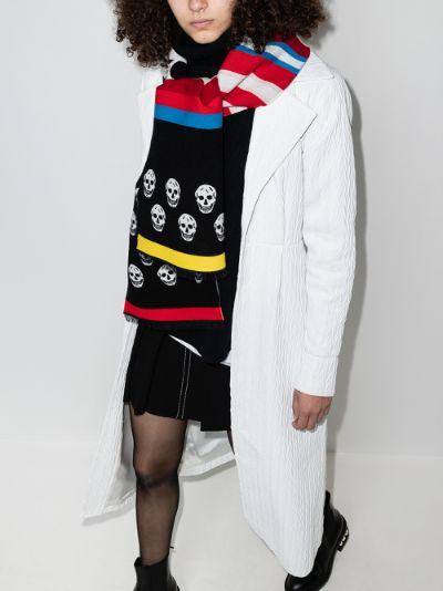 multicoloured skull stripe scarf