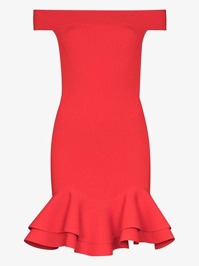 off-the-shoulder ruffle trim cocktail dress
